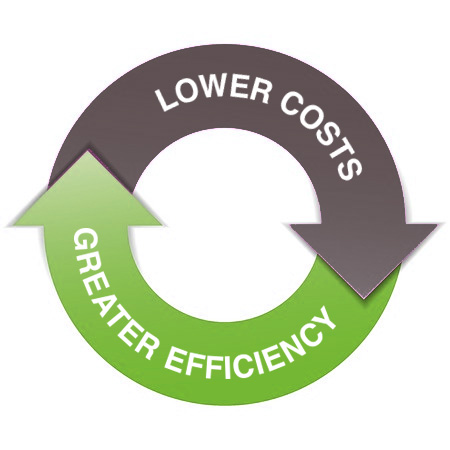 Lower cost, greater efficiency graphic