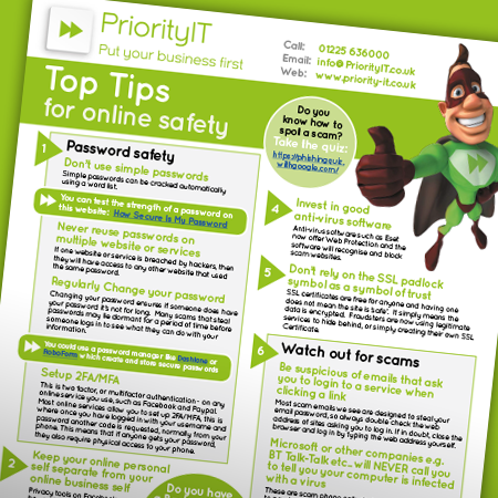 Priority IT Top Tips for online safety